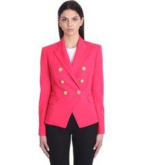 balmain blazer in rose-pink wool