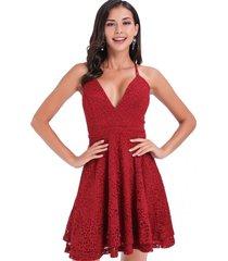 vestido fiesta encaje capas rojo nicopoly