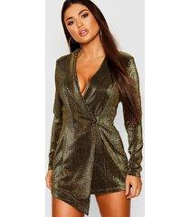 petite metallic blazer jurk, goud