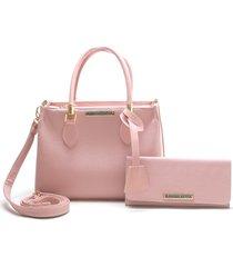 bolsa sacola kit carteira karina rosa rosa