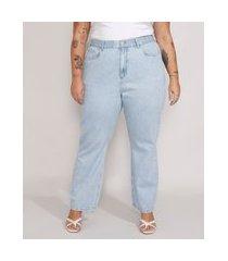calça jeans feminina plus size mindset reta paris cintura alta azul claro