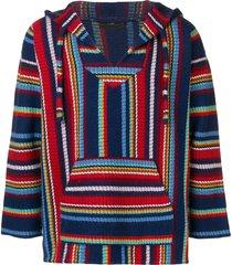 alanui striped-knit hooded jumper - blue