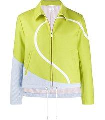 thom browne seersucker tennis intarsia jacket - green