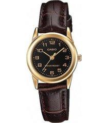reloj analógico mujer casio ltp-v001gl1b - marrón con negro