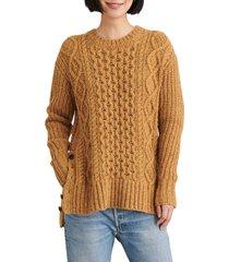 women's alex mill button side aran wool blend sweater, size xx-large - yellow