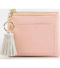 women's clara pebbled tassel pouch in blush by francesca's - size: one size