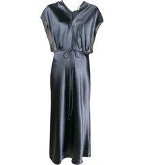 vince metallic flutter-sleeve dress - blue