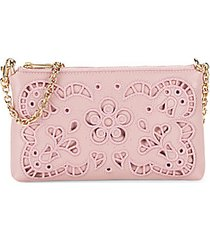 lace-cutout leather chain pouch