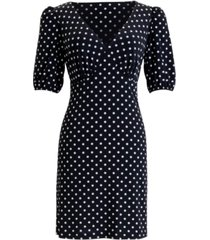 connected dot-print fit & flare dress