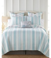 cape coral stripe reversible king quilt set