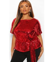 plus sequin belted peplum shirt sleeve top, red