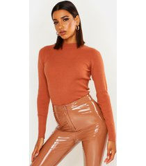 ribbed turtle neck sweater, terracotta