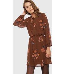 vestido only francis marrón - calce regular