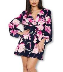 ax paris women's floral print wrap-style dress
