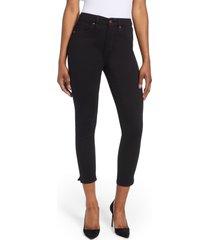 women's good american good waist side slit crop jeans, size 14 - black