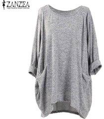 zanzea pullover bolsillos tops mujeres o cuello de manga larga sólido blusas flojas ocasionales -gris
