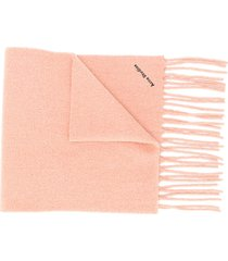acne studios logo embroidered fringed scarf - pink