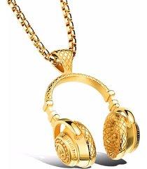 dije collar audifonos acero inoxidable rock hombre 354 dorado