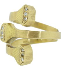 boaz kashi 18kt yellow gold extreme bypass diamond ring - ylwgold