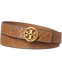 women's tory burch logo monogram embossed leather belt, size small - moose