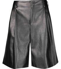 comme des garçons homme plus flared faux-leather shorts - silver