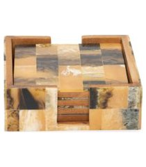 conjunto de porta copo quadrado em mdf - marrom