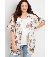 maurices plus size womens metallic floral open front kimono white