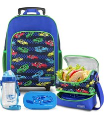 conjunto mochila com rodinhas g, lancheira térmica, pote e squeeze carro jacki design sapeka azul marinho