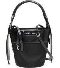 prada nylon and leather ouverture bucket bag