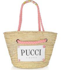 emilio pucci designer handbags, pink & natural straw tote bag