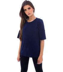 blusa moda vicio com abertura na lateral azul marinho