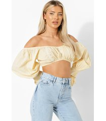 broderie anglaise crop top met pofmouwen, stone