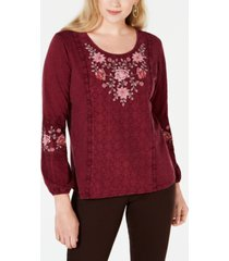 style & co embroidered-panel peasant top, created for macy's