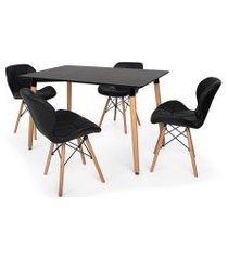kit mesa jantar eiffel 120x80 preta + 04 cadeiras slim - preta