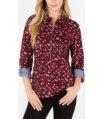 tommy hilfiger cotton floral-print zip popover top, created for macy's
