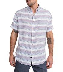 men's rails carson stripe short sleeve linen blend button-up shirt, size xx-large - white