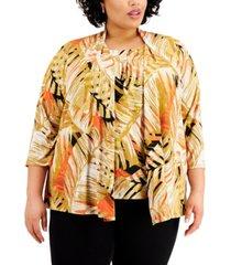 kasper plus size tropical-print 3/4-sleeve open-front cardigan sweater