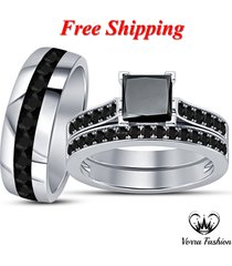 diamond white gold plated bride & groom engagement ring trio set free shipping