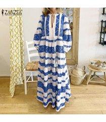 zanzea vestido de playa con cordones y manga de linterna para mujer vestidos largos de kaftan casuales para mujer -azul