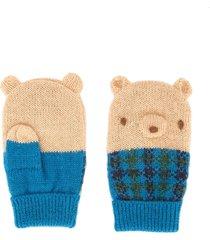 familiar knitted teddybear mittens - blue