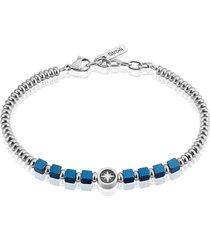 bracciale con dettaglio stella polare in acciaio e pietre blu per uomo