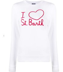 i love st. barth embroidered graphic white sweater
