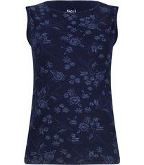 top estampado floral color azul, talla xs