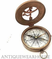 solid brass working pocket compass with leather case vintage navigation compass