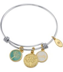 """unwritten """"family"""" tree enamel adjustable bangle bracelet in stainless steel with silver plated charms"""