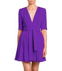 stella mccartney women's belted silk romper - violet - size 40 (6)