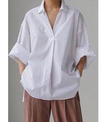 camicetta casual a maniche lunghe allentata tinta unita per donna