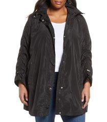 plus size women's via spiga ruched sleeve packable rain jacket, size 3x - black