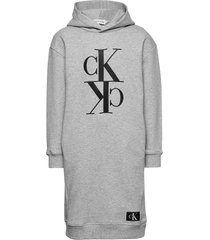 midi monogram hoodie dress jurk grijs calvin klein