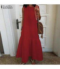 zanzea de s-5xl mujeres camiseta sin mangas del vestido del verano del tanque del vestido largo maxi del vestido vestido de tirantes -rojo